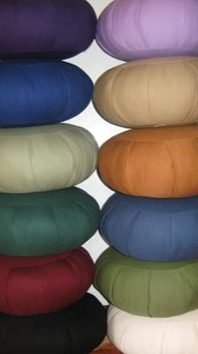 Zafu's are available im many colors, filled with Kapok or Buckwheat hulls.